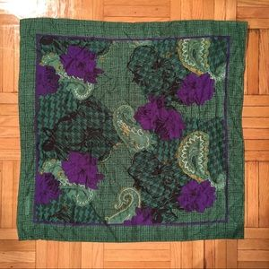 Vintage Christian Dior Green Purple Silk Scarf 30""